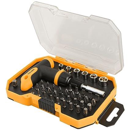 Cablematic - Kit de 32 destornilladores y 6 llaves tubo con carraca de herramientas Tolsen