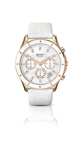 877d3bfbe933 Seksy Women s Quartz Watch with Mother of Pearl Dial Analogue Display and  White Leather Strap 2212.37