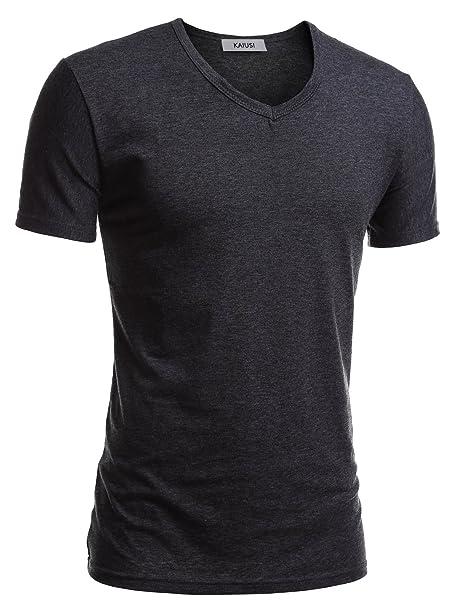 KAIUSI Herren Slim Fit Kurzarm Basic V-Ausschnitt Tee NOOS T-Shirt  Dunkelgrau S