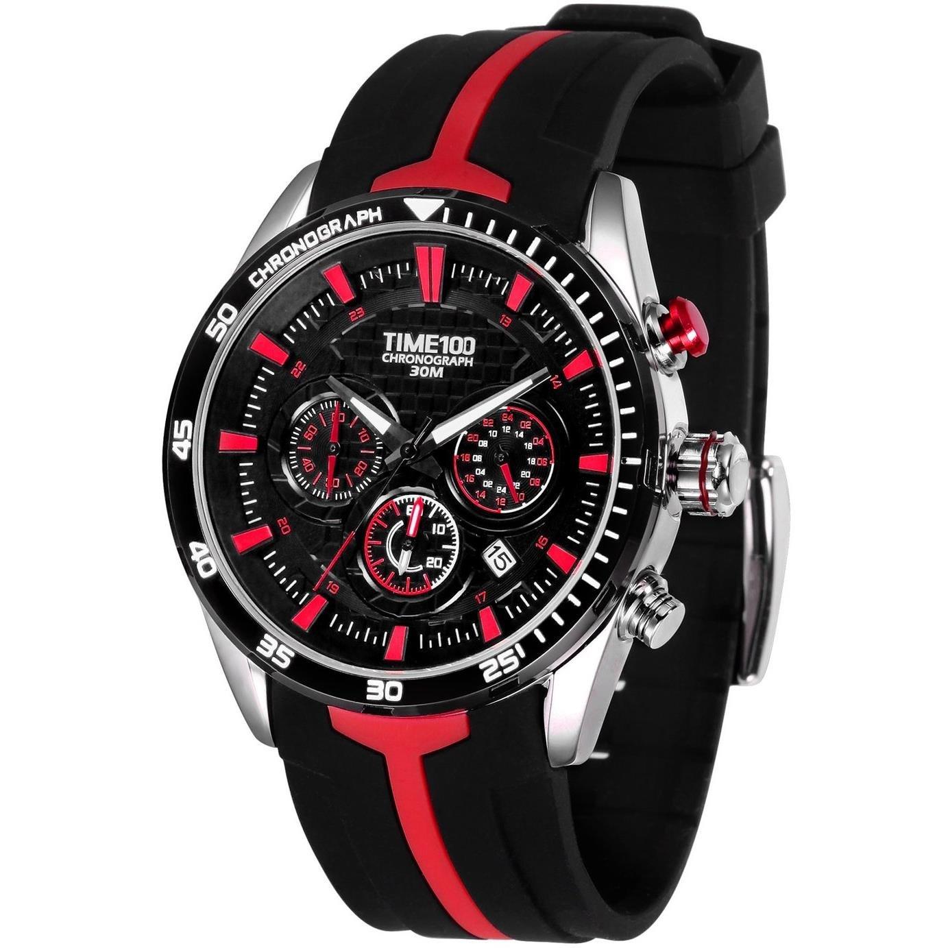 TIME100 Reloj Cuarzo de Silicona de Cuarzo multifunción de la Manera de la Correa de Silicona de los Hombres de los Relojes Deporte
