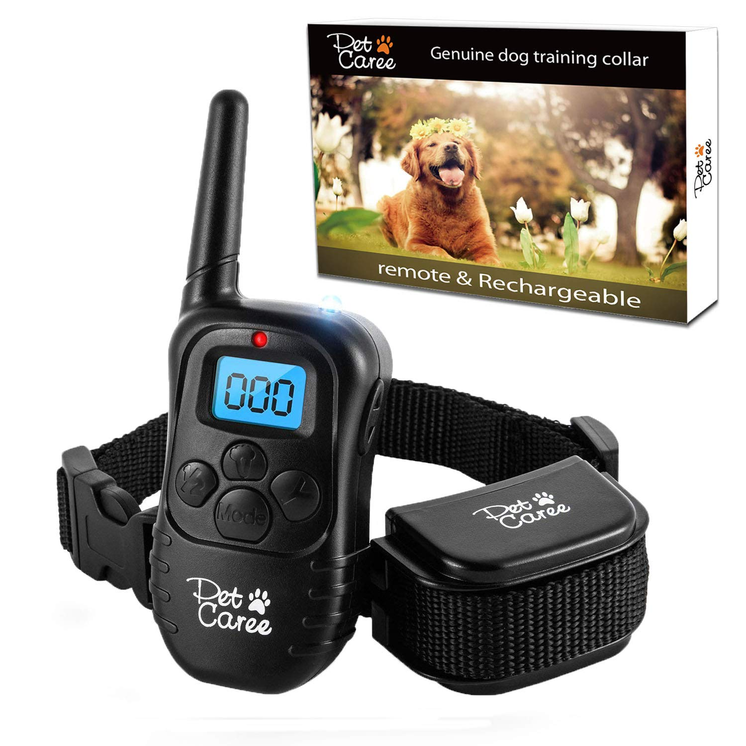 instecho Dog Training Collar, 100% Rainproof Rechargeable Electronic Remote Dog Shock Collar 330 Yards with Beep/Vibrating/Shock Electric E-Collar(Black)