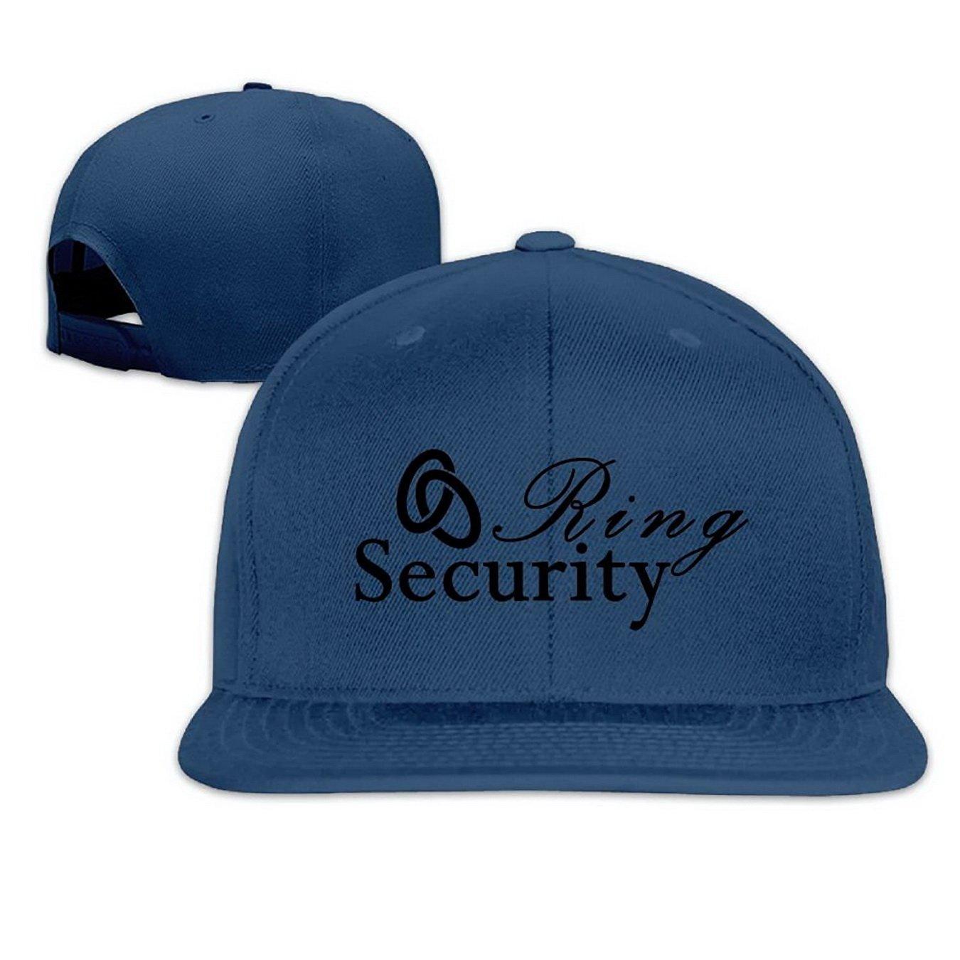 Ring Security Snapback Hip Hop Flat Bill Baseball Caps for Men Women Navy