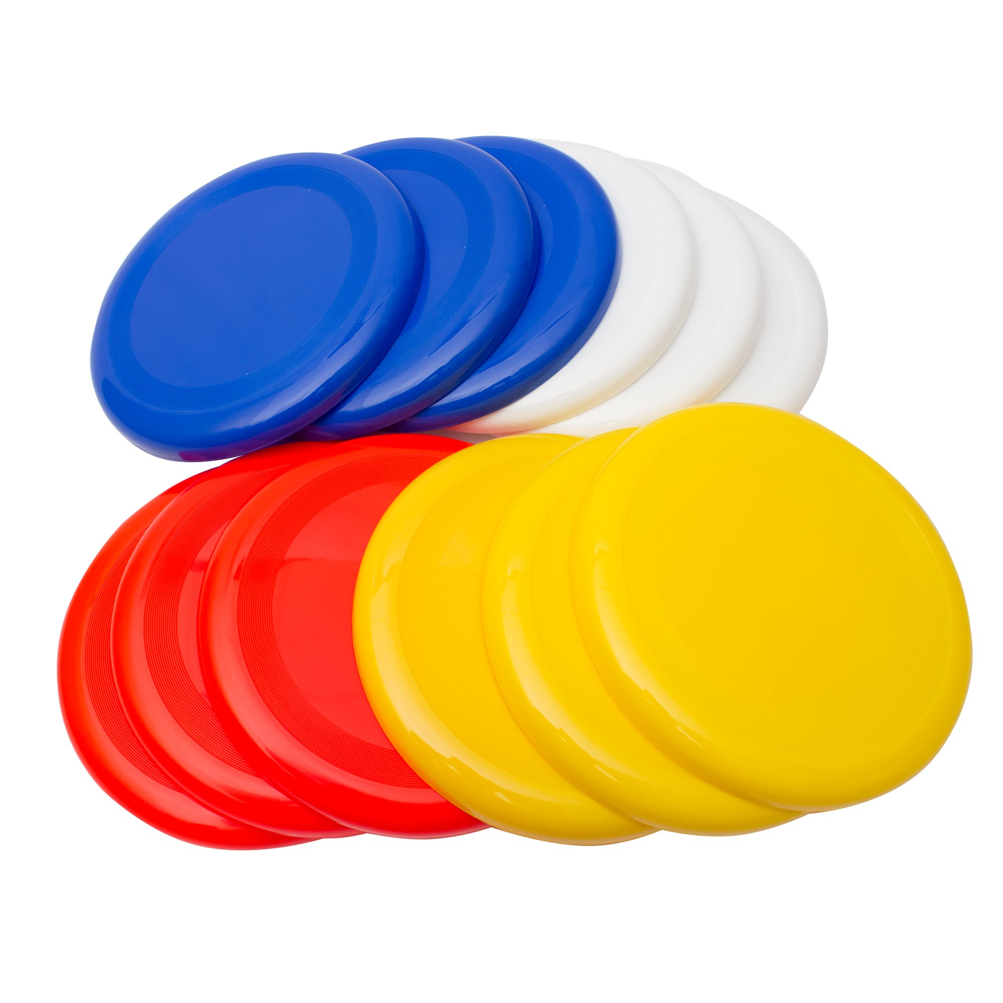 Fun Central AU203 10'' Frisbee Plastic Flying Disc Dog Frisbee Golf Discs Ultimate Frisbee Disc, Multicolor-for Outside Play Family Fun Time- pack of 12 (red, white, yellow, blue) by Fun Central
