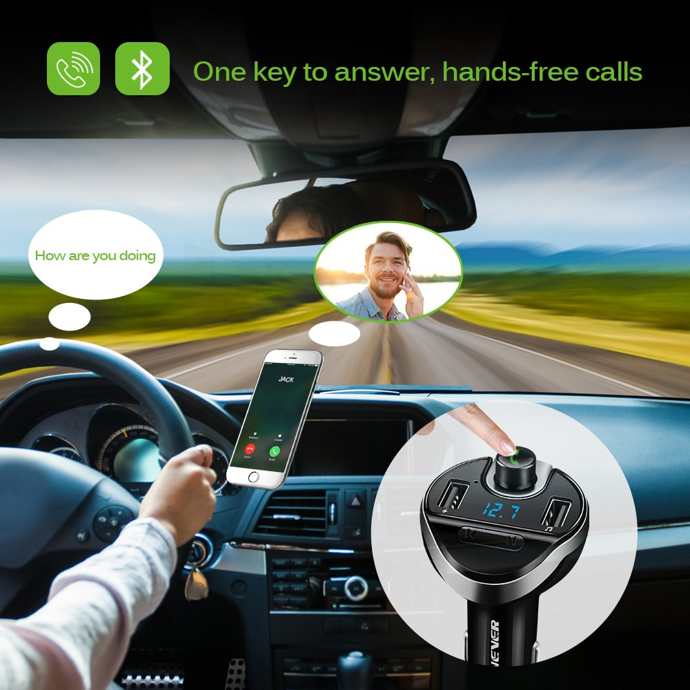 ONEVER Wireless Bluetooth Radio Transmitter Adapter with Hand-Free Calling and 1.44 inch LCD Display Bluetooth FM Transmitter for Car Music Player Support TF Card USB Flash Drive AUX Input//Output 4351491727
