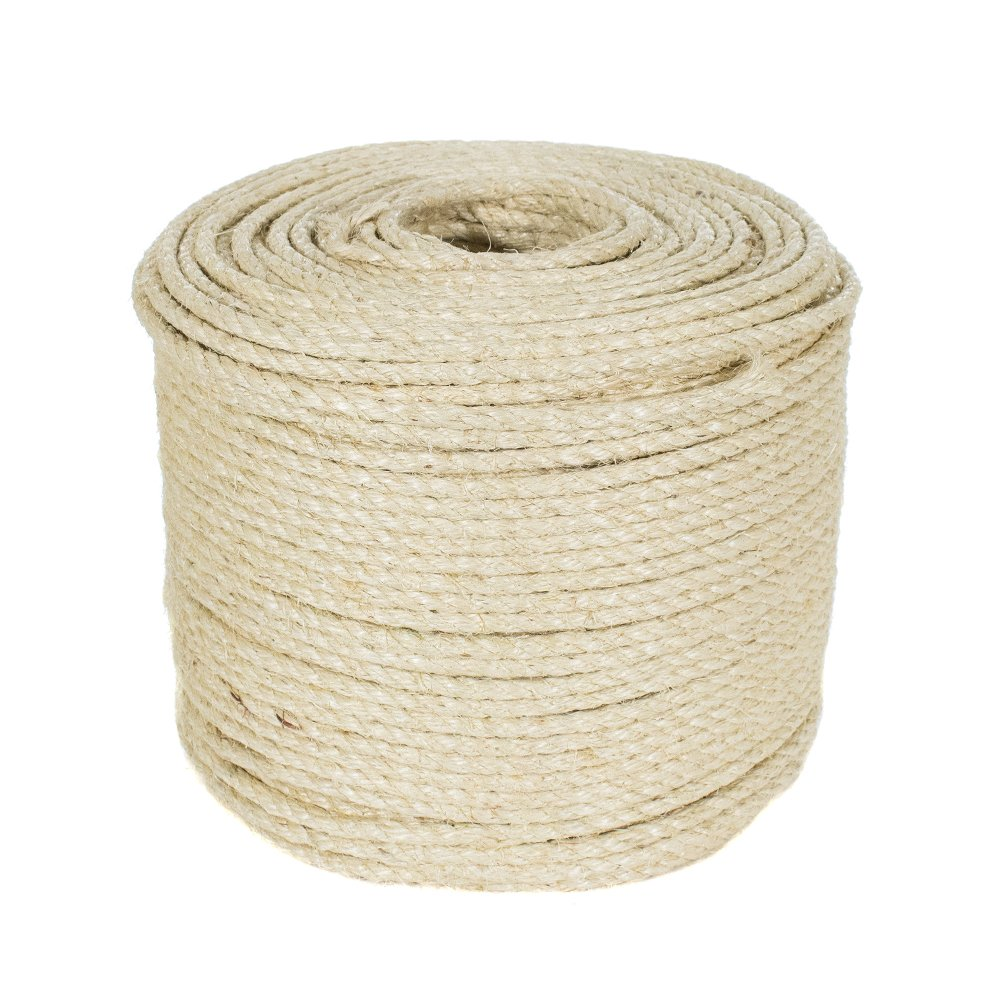 Golberg Premium 3/8-Inch Twisted Sisal Rope - Pet Safe - 100 Feet