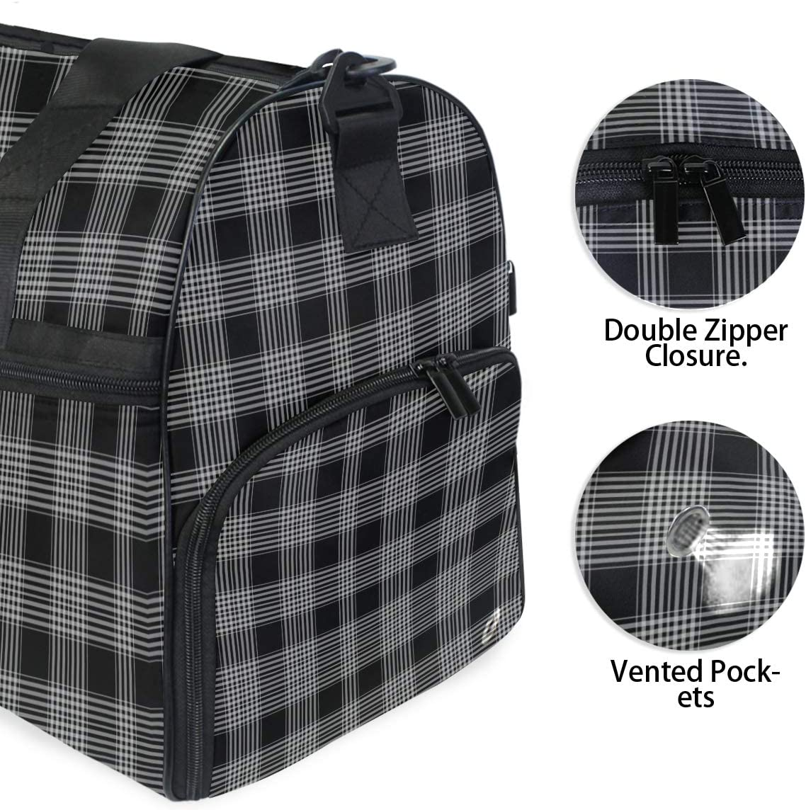 MALPLENA Black White Checks Plaid Packable Duffle Bag For Men Women Tear Resistant Sports Duffle