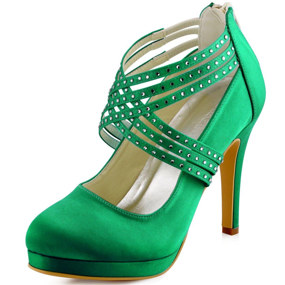 ElegantPark Women High Heel Pumps Closed Toe Platform Strappy Satin Evening Prom Dress Wedding Shoes B011B26WXE 10 B(M) US|Green