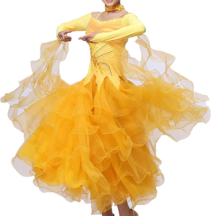 Amazon.com: Vestidos de baile Practise Dance Rhinestone ...