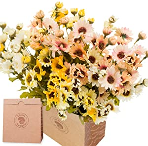 SNAIL GARDEN 6Pack Artificial Daisy Flowers, 21Heads Per Bunche Silk Gerber Daisy Wildflowers with 1 Vase Kraft Paper Bag for Home Office Table Outside Farmhouse Garden Décor Wedding Flower Bouquet