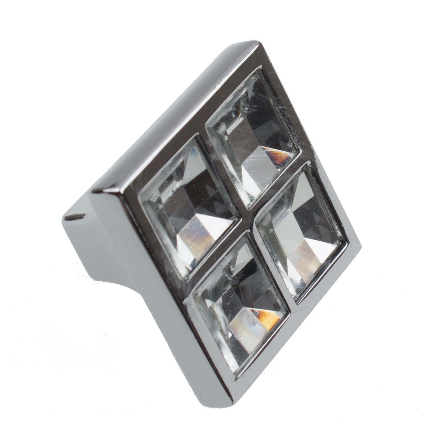 GlideRite Hardware 9051-CR-25 Small Square Clear K9 Crystal Cabinet Knobs 25 Pack