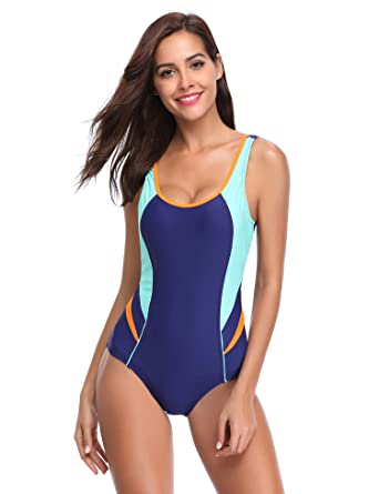 3d77793587 LALAVAVA Women s One Piece Swimsuit Race Training Athletic Sports Bathing  Suits Swimwear