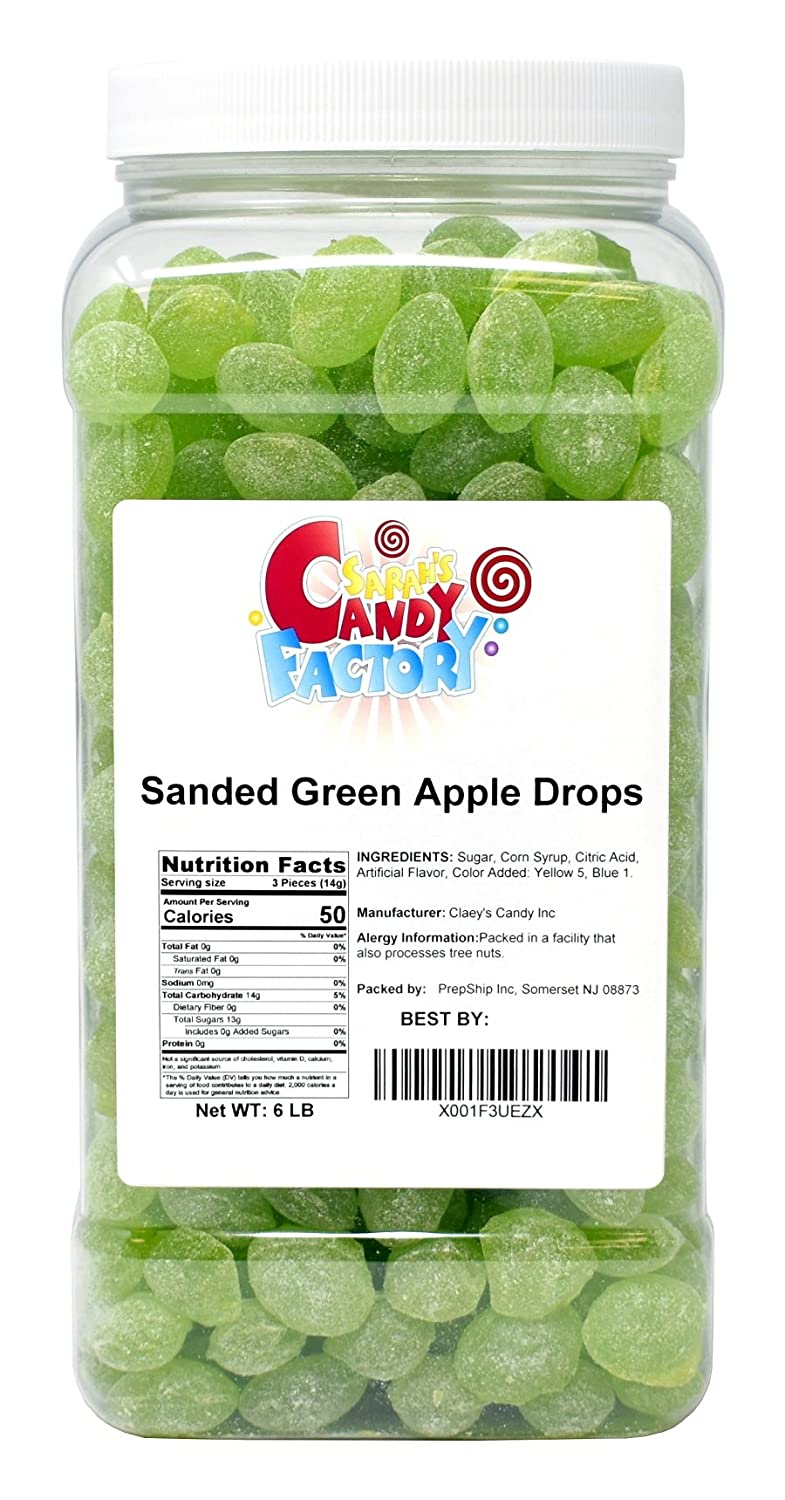 Sarah's Candy Factory Sanded Green Apple Drops Old Fashioned Hard Candy in Jar, 6 Lbs