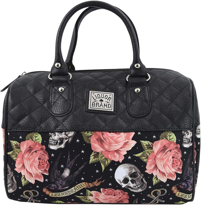 Liquorbrand Skulls & Pink Roses Satchel Purse Rockabilly Tattoed Lady Handbag Small Satchel Purse Crossbody bag
