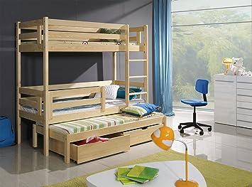 Bert 3ft Wooden Children Triple Bunk Beds With Mattresses And