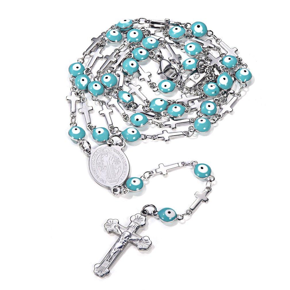 FaithHeart Christian Jesus/Virgin Mary/St. Benedict Rosary Charms Stainless Steel Cross Long Chain Necklace (3 Styles) FaithHeart Jewelry TN12030GH-U