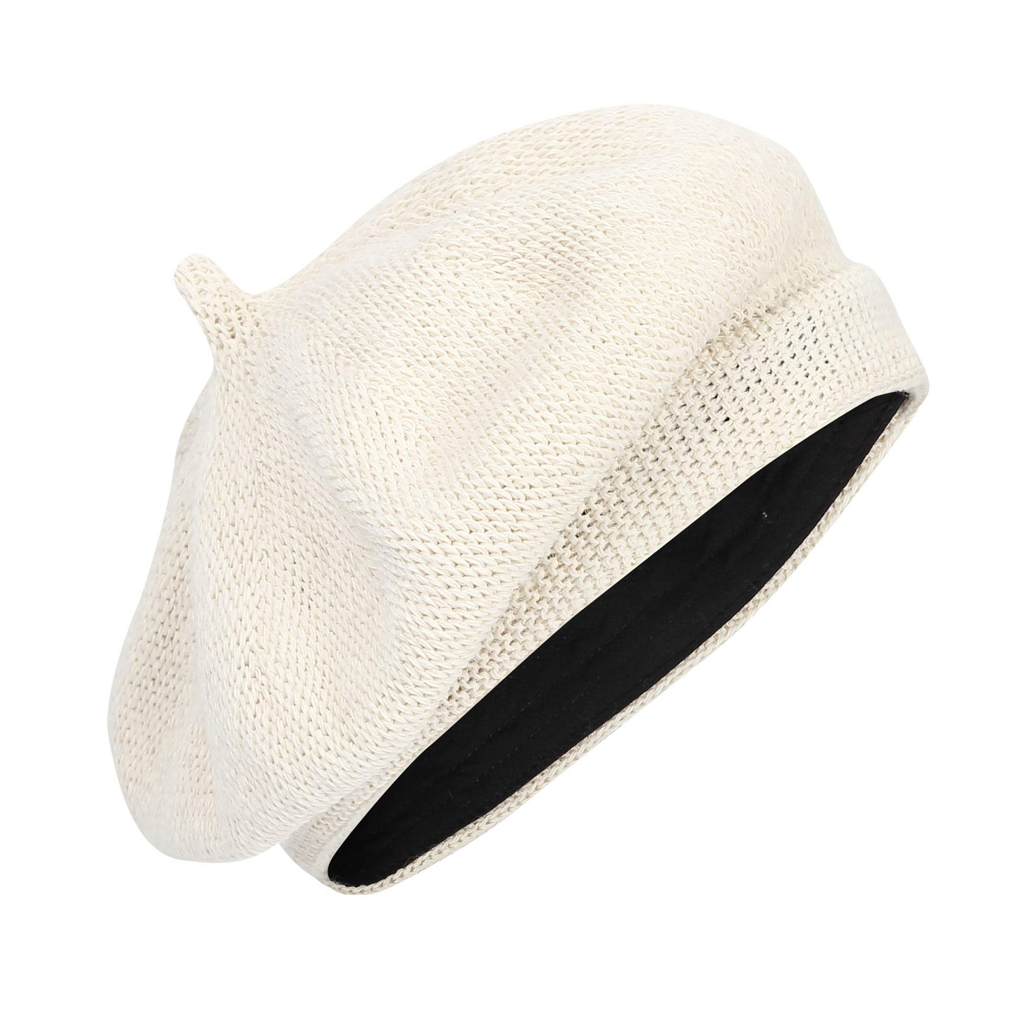 WITHMOONS Beret Hat Breathable Mesh Summer Straw French Berets KRF1165 (Ivory)