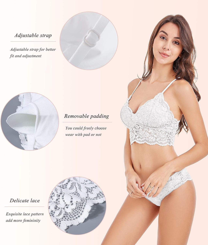 DotVol Womens Floral Lace Bralette Removable Padded Standard Plunge Wireless Bra and Panty Set