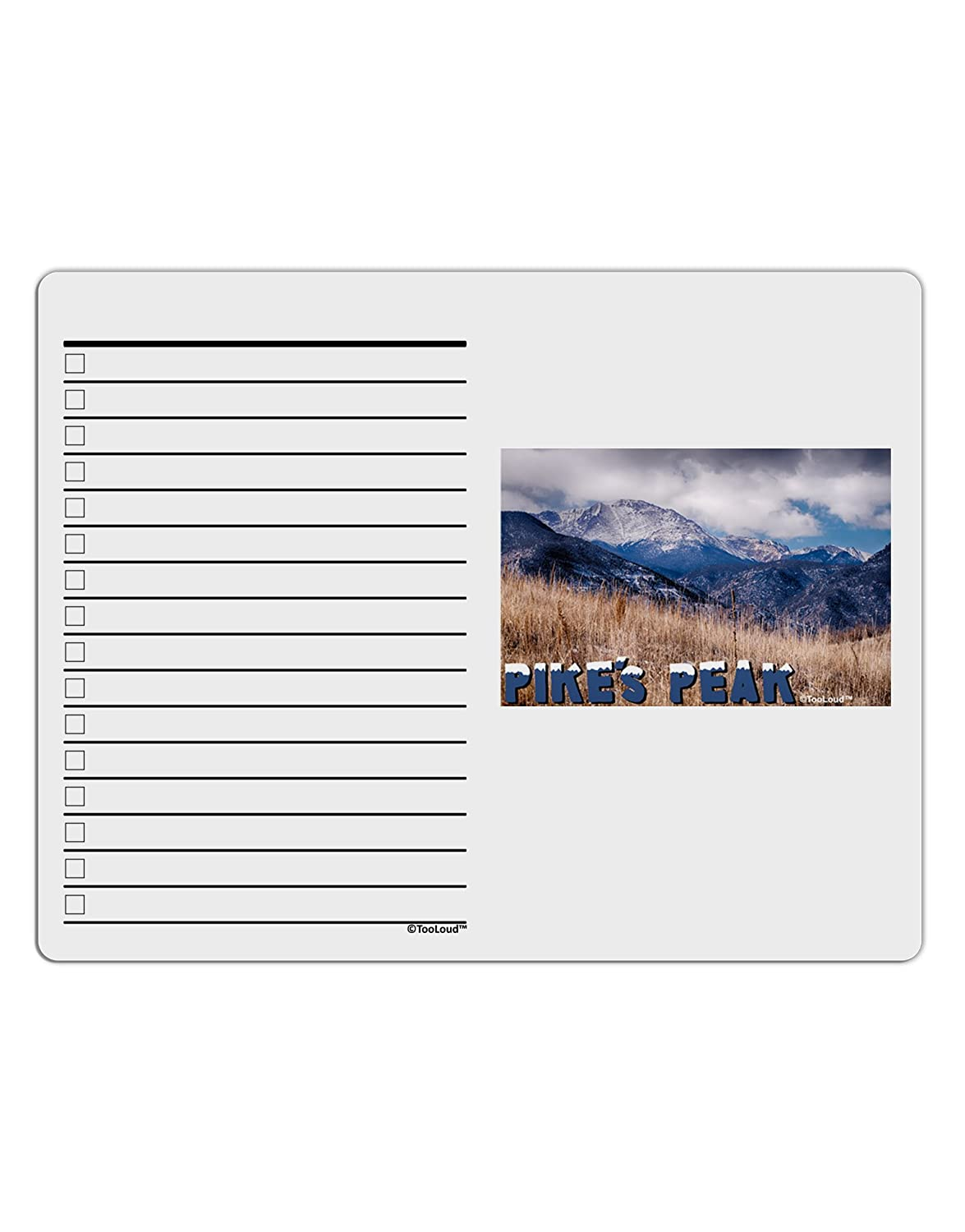 TooLoud Pikes Peak CO Mountains Text To Do Shopping List Dry Erase Board