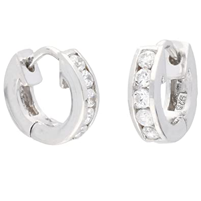 d300268ea68c2 Tiny CZ Ear Huggers Sterling Silver Huggie Hoop Earrings