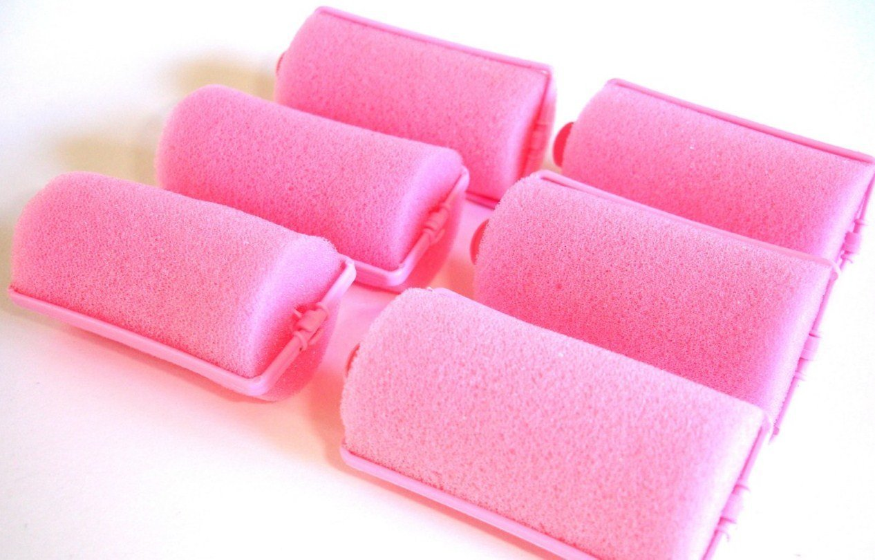 2 Pack (each contains 6 rollers) Soft PINK Foam Hair Styling Rollers SPONGE Curlers LARGE 1 (you are getting total of 12 rollers) by Le Salon ALAZCO