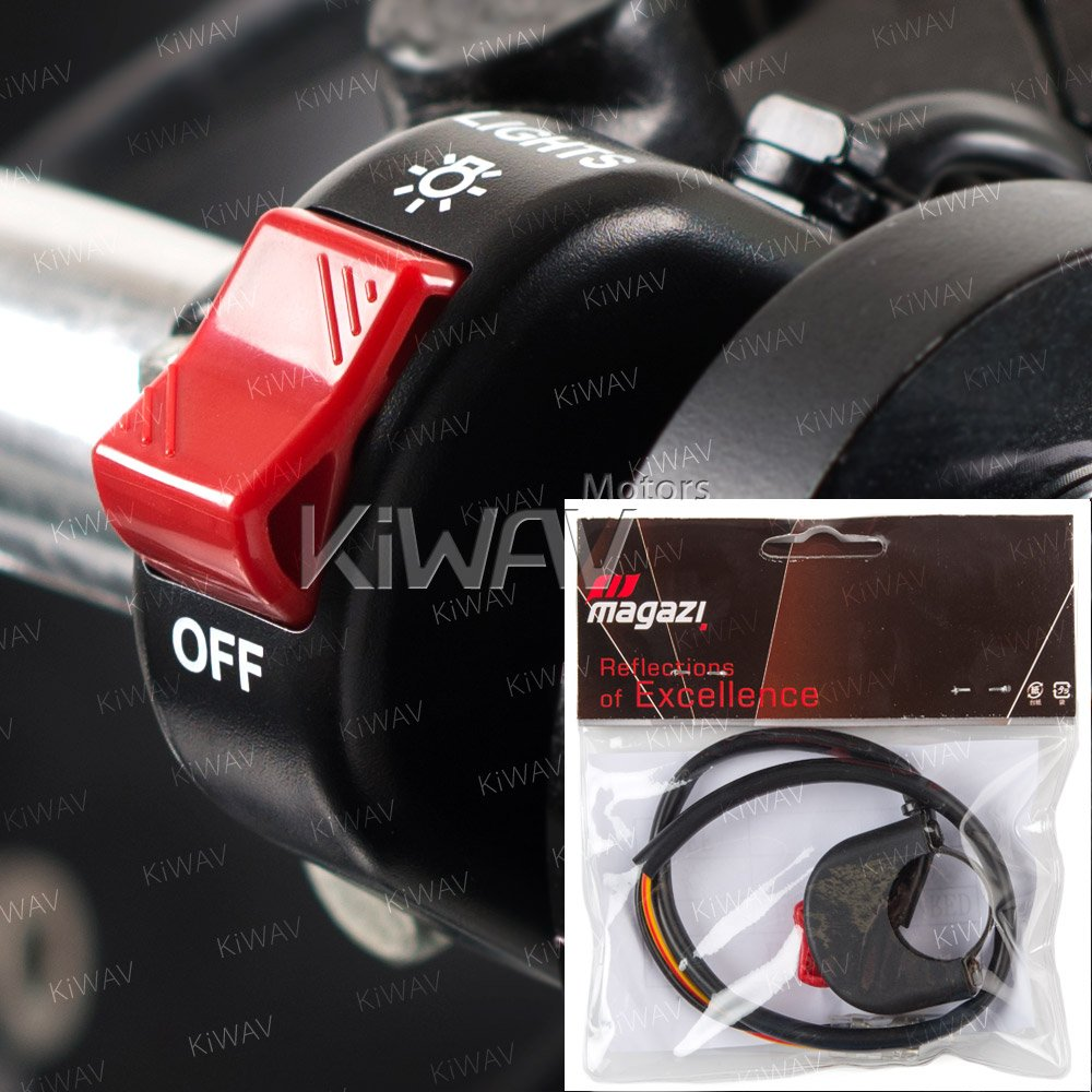 KiWAV Motorcycle black fog light switch 1 inch 25mm handlebar 12v DC electrical system by KiWAV