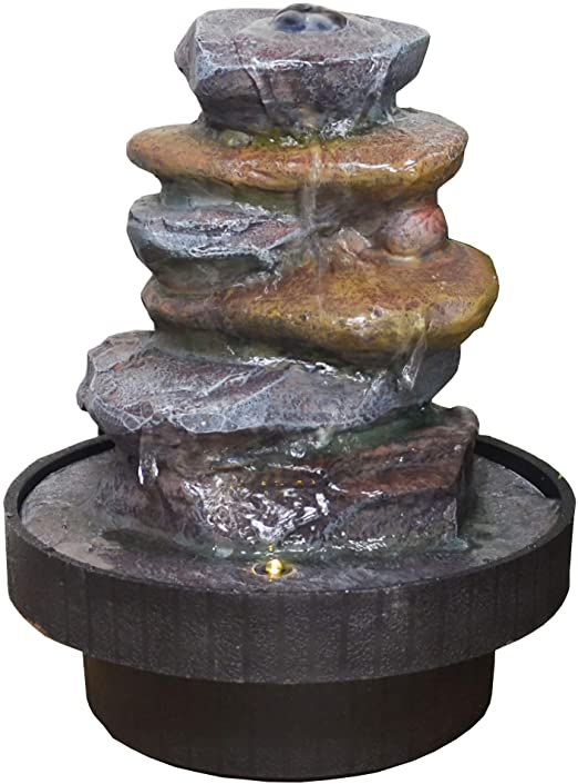 Fiesta Studios Fuente de Agua de Piedra con luz Interiores: Amazon.es: Jardín