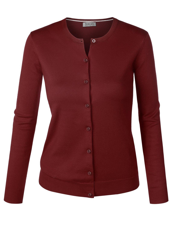 BIADANI Women Button Down Long Sleeve Crewneck Soft Knit Cardigan Sweater Burgundy Small