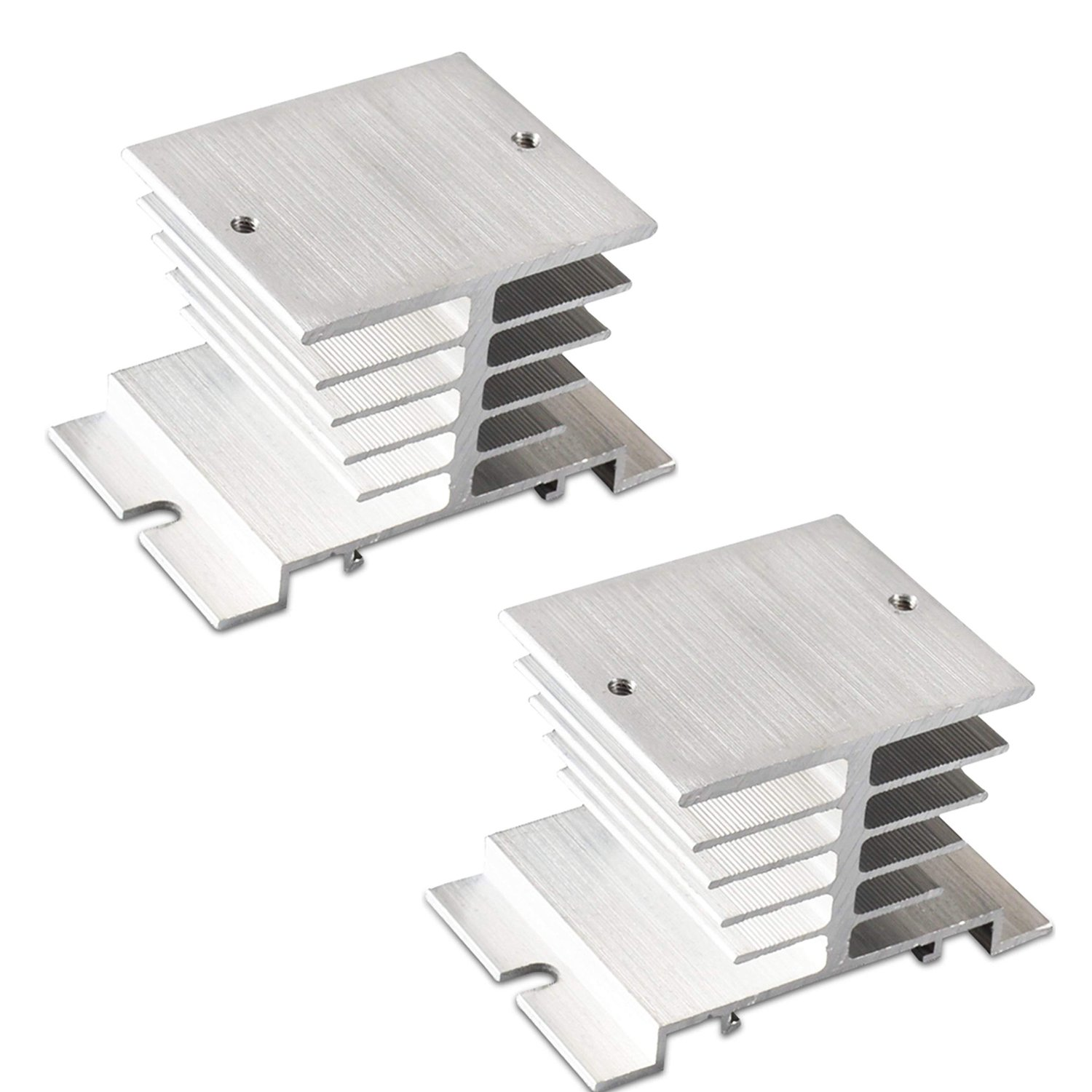 Yootop Aluminum Temperature Controller Heat Sink Heat Sink SSR Dissipation for Solid State Relay SSR Type-Pack of 2 (Silver)