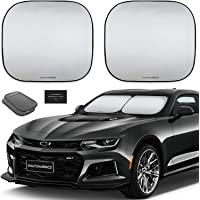 Autoamerics 2-Piece Windshield Sun Shade Foldable Car Front Window Sunshade for Most Compact Sports Cars - Auto Sun Blocker Visor Protector Blocks Max UV Rays and Keeps Your Vehicle Cool - (Small Fit)