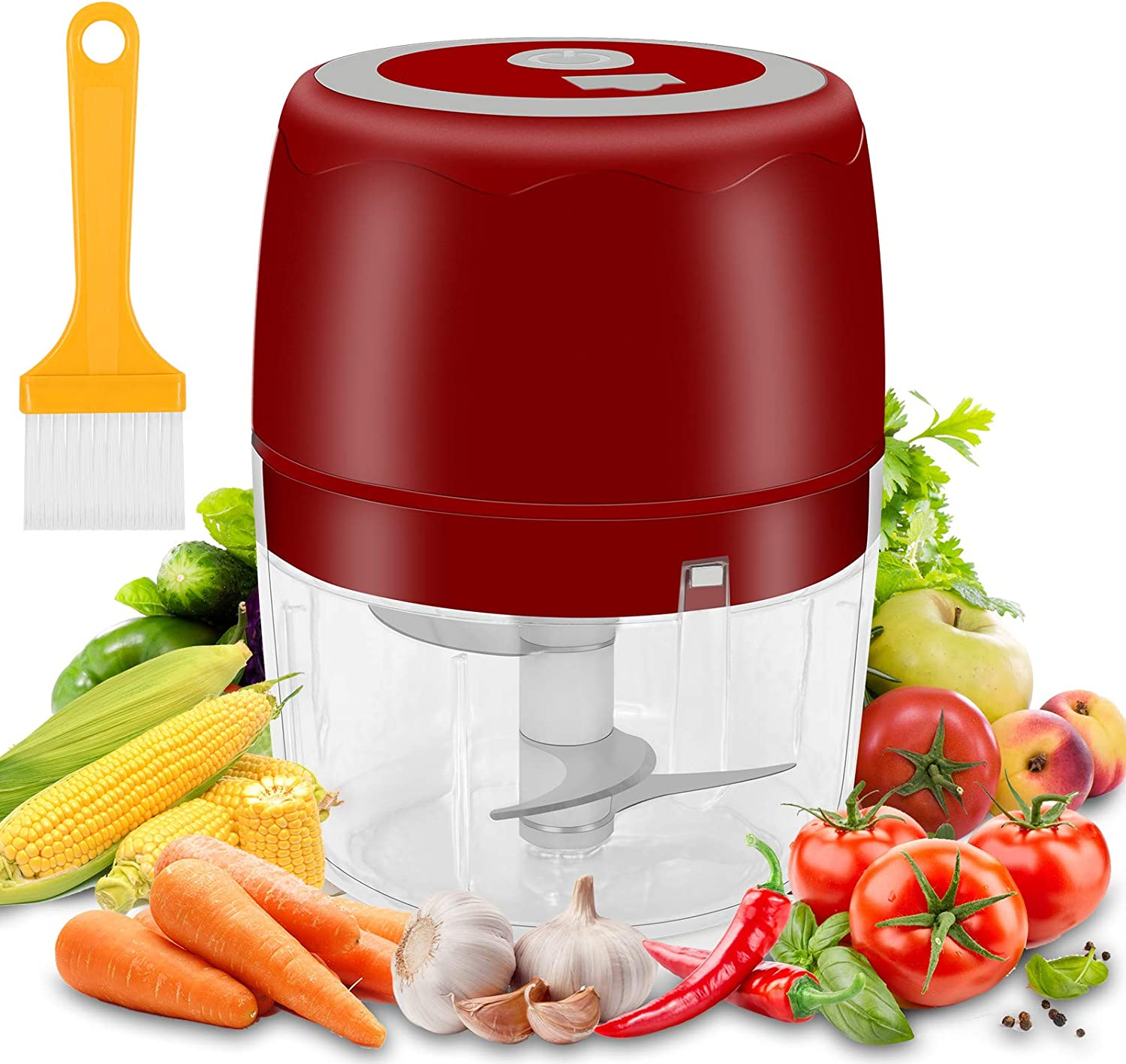 moleath Electric Mini Food Chopper, 400ML Wireless Portable Garlic Grinder, Mincer Blender, Multifunctional Food Slicer Processor for Cutting Garlic,Fruits,Vegetables,Nuts, Meat,Baby Food (Red)