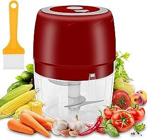 moleath Electric Mini Food Chopper, 400ML Wireless Portable Garlic Grinder, Mincer Blender, Multifunctional Food Slicer Processor for Cutting Garlic,Fruits,Vegetables,Nuts, Meat,Baby Food (Red)