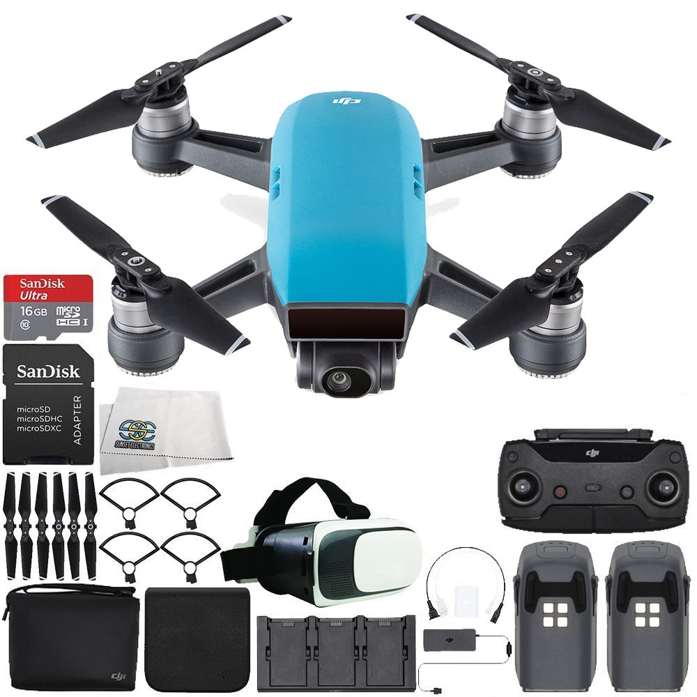 DJI Spark Portable Mini Drone Quadcopter Fly More Combo Virtual Reality Experience VR Bundle (Sky Blue) by SSE
