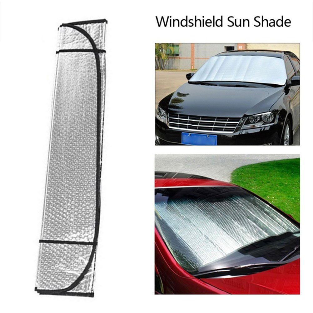 UV and Sun Protection Foldable Aluminum foil Sunshade for Car,Keep Your Car Cooler-Fit for Cars SUVS Trucks Minivans-55 x 28in Kuke Windshield Sun Shade
