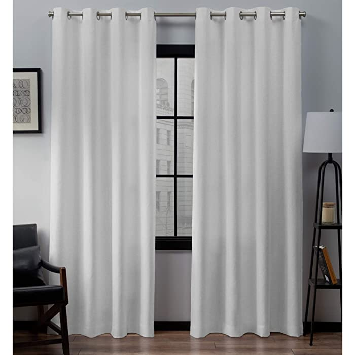 Exclusive Home Curtains Loha Linen Window Curtain Panel Pair with Grommet Top 54x84 Winter White 2 Piece