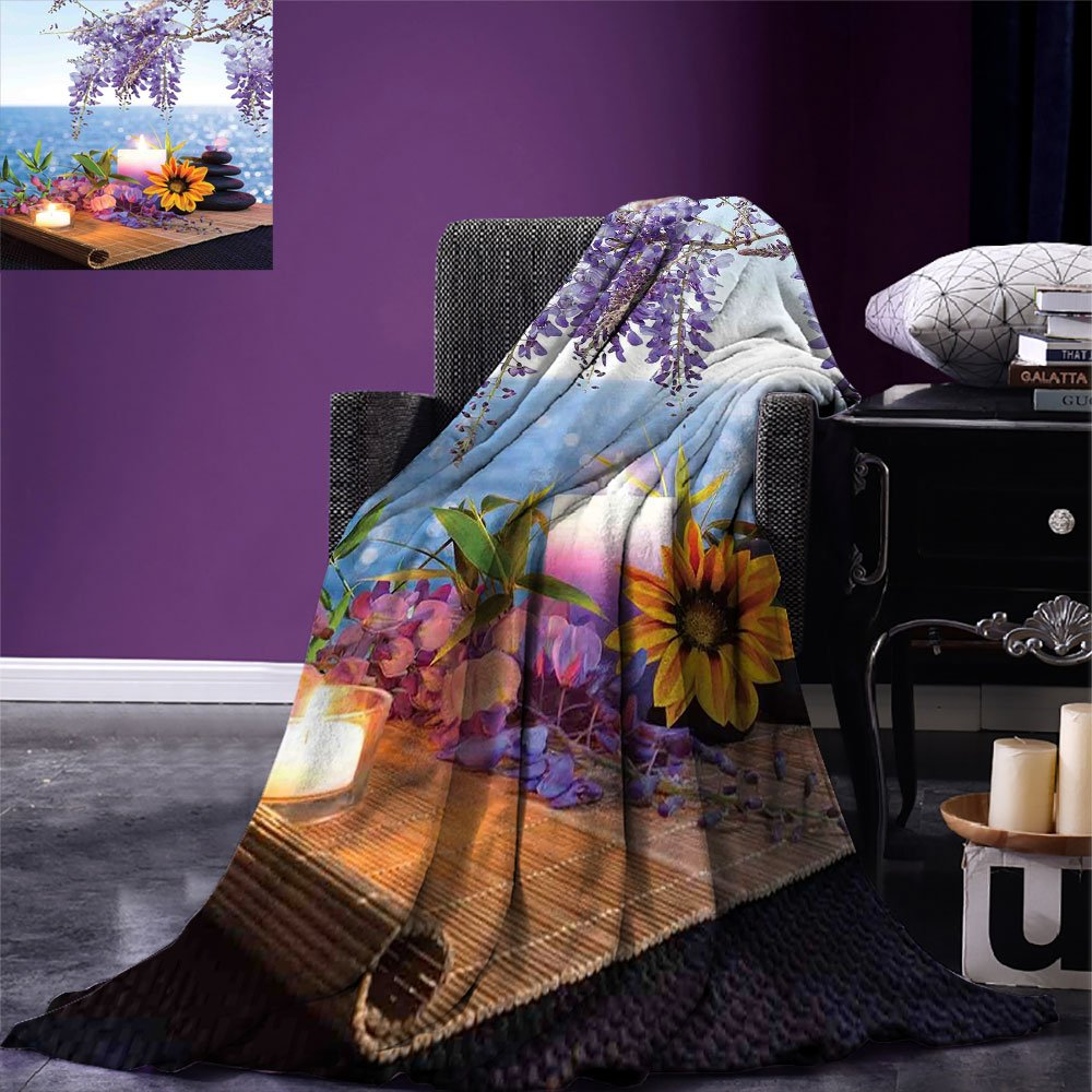 smallbeefly Spa Decor Digital Printing Blanket Massage Stones with Daisy and Wisteria with the Seabed Foliage Meditation Summer Quilt Comforter