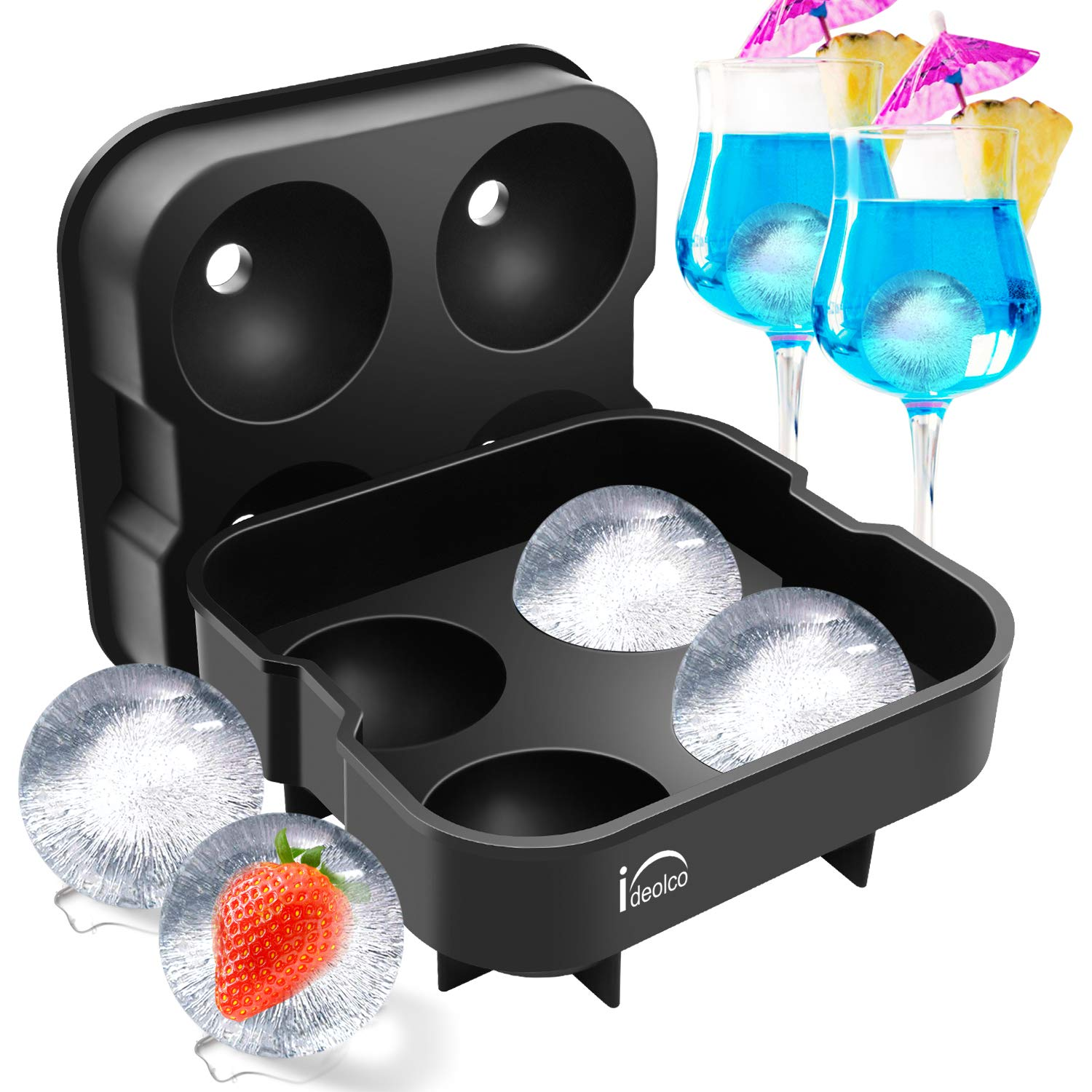 Ideolco Ball-Shaped Ice Cube Trays,Reusable Silicone Sphere Round Ice Cube Molds,Food-Grade BPA Free Flexible Durable Ice Tray with Spill-Resistant Removable Lid and Funnel,Makes 2 Inch Ice Balls