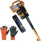 FISKARS© Set, Spaltaxt X25 XL 122483 + Xsharp Axt- & Messerschärfer + Handschuhe