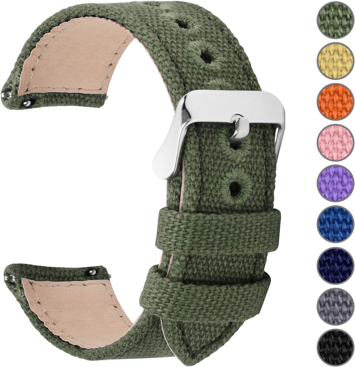 Fullmosa 8 Colores para Correa de Reloj de Lona de Liberación Rápida, Correa de Reloj Militar 14 mm 16 mm 18 mm 20 mm 22 mm 24 mm Pulseras de Reloj de Repuesto para Hombres Mujeres, 20mm Verde Oscuro