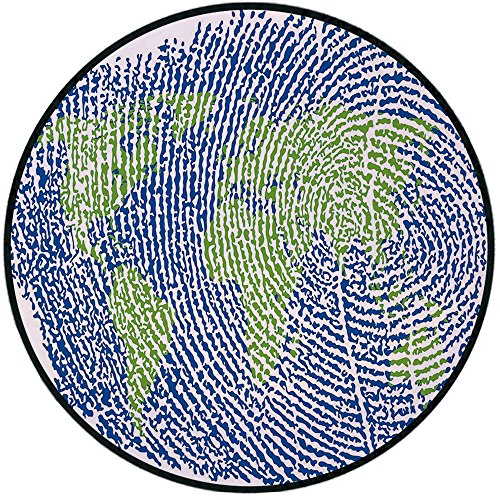 Printing Round Rug,World Map,Map of the World Fingerprint Style Continents Asia Europe Africa America Mat Non-Slip Soft Entrance Mat Door Floor Rug Area Rug For Chair Living Room,Navy Blue Green ()