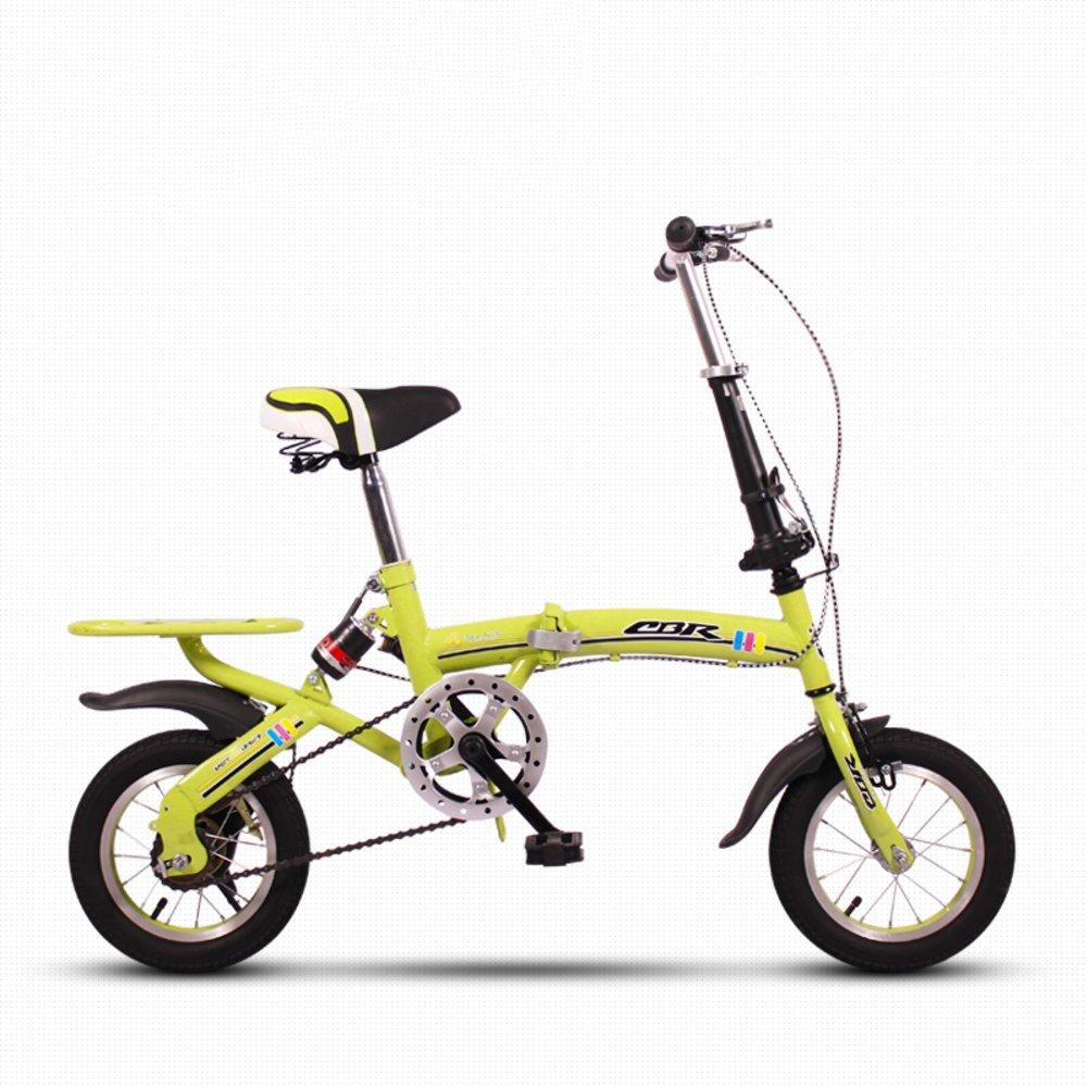 子供用折りたたみ自転車, 学生折りたたみ自転車 軽量 ミニ 小型のポータブル 衝撃吸収 男性と女性 折りたたみ自転車 B07DK6J8RW 12inch 緑 緑 12inch