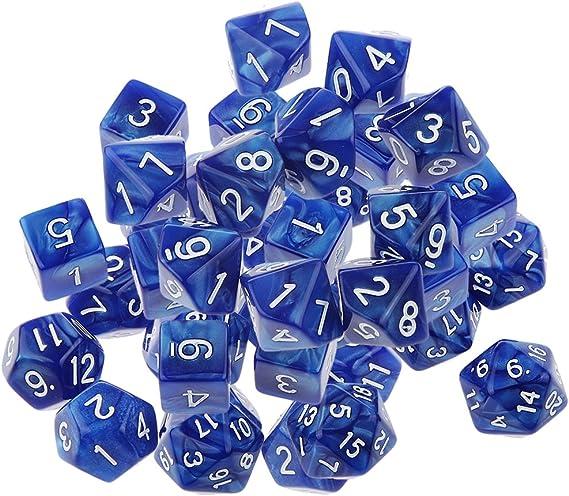 40 Piezas Múltiples Caras de Dados D6-D20 De D & Dirección de Partido D Trpg Juguetes Juego - Azul: Amazon.es: Juguetes y juegos