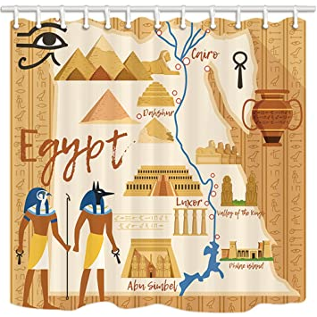 NYMB Cartoon Shower Curtain, Egyptian Style Anubis Sphinx Pyramid Pharaoh  Palace Map, Mildew Resistant