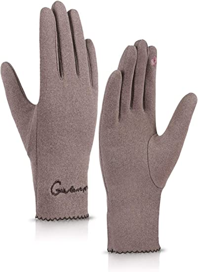 Ladies Leather Gloves Winter Work Driving Snow Ski Touch Screen iphones Thermal