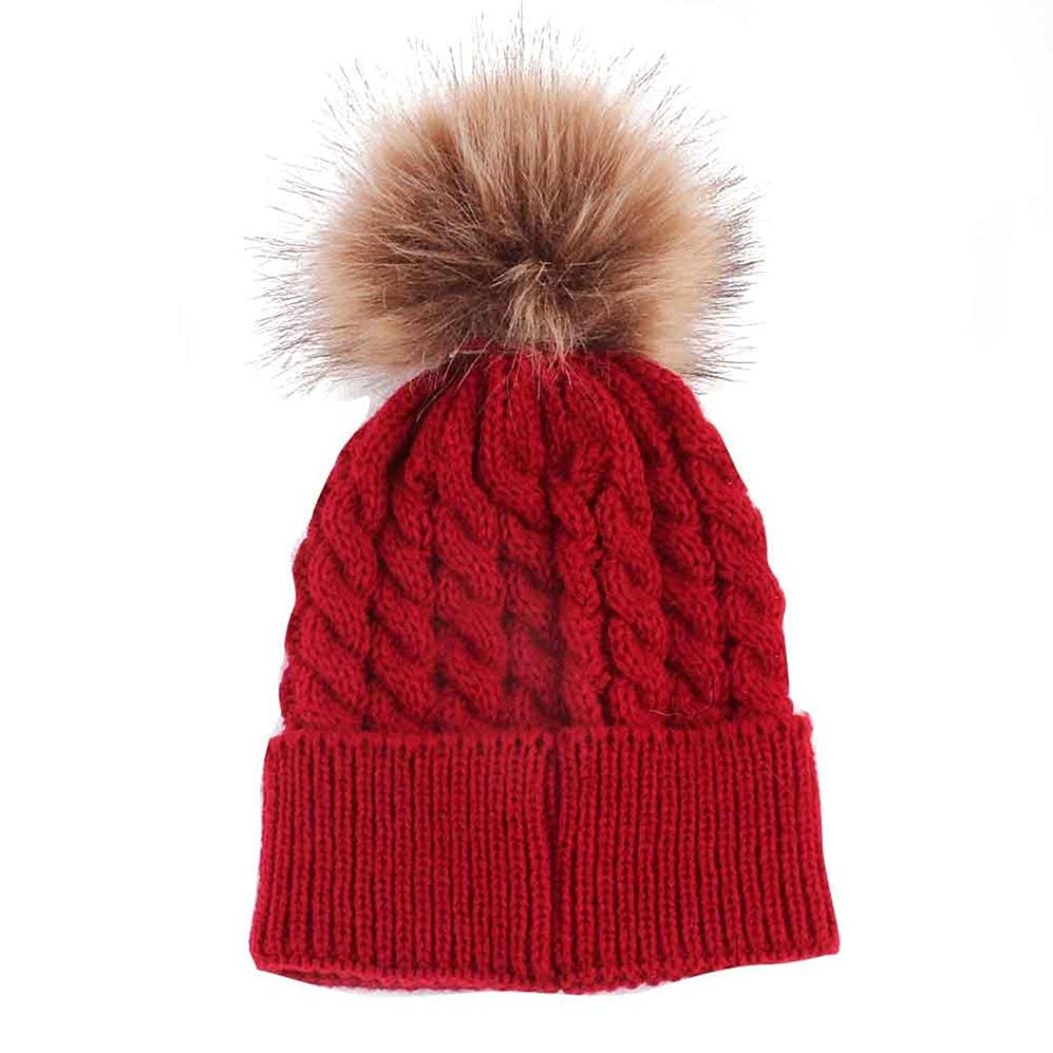 Bluelans® Newborn Cute Winter Kids Baby Hats Knitted Hemming Skullies Beanies Hat with Large Fur Pom Pom Cap