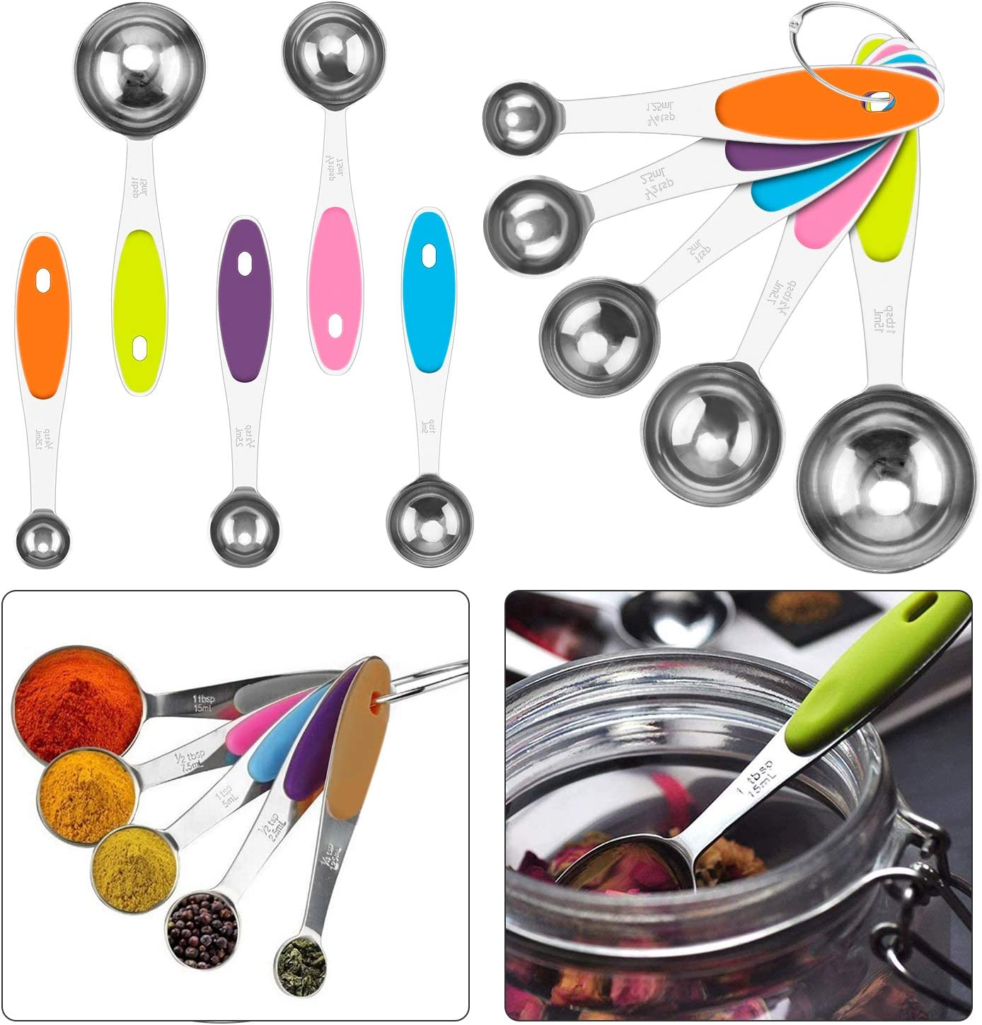 Kitchen Funnels Mini Funnel 3 Pcs Stainless Steel Funnel Set and 5 Measuring Spoons Mental Strainer Funnel with Long Handle for Fluid Oil Powder Beans Jar Flask Powder