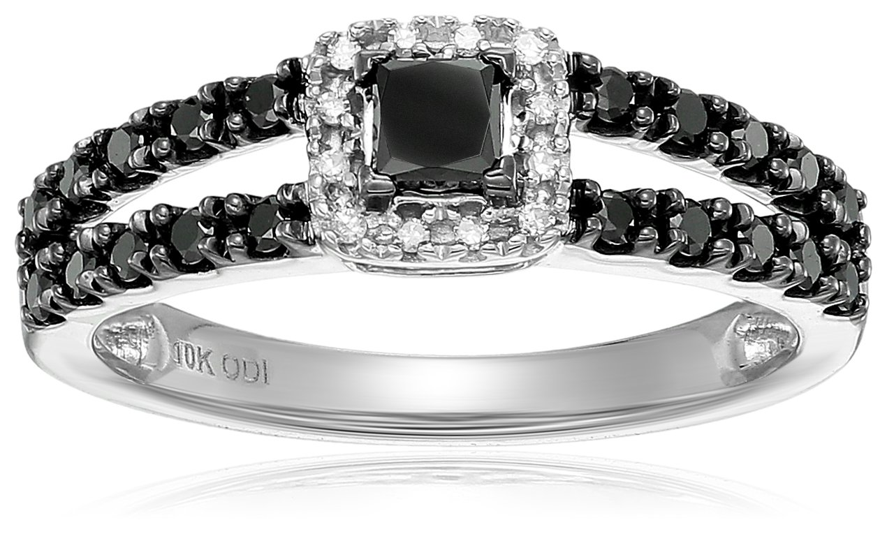 10k white gold black and white diamond halo engagement ring (1/2cttw), size 6