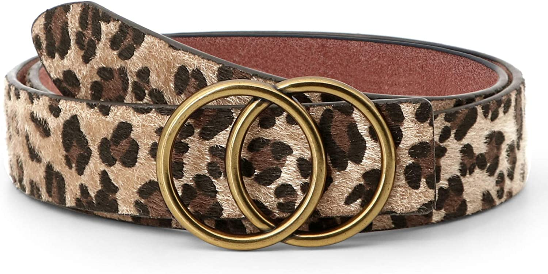 JASGOOD Leopard Print Leather Belt for Women Jeans Pants Waist Belt for Dresses