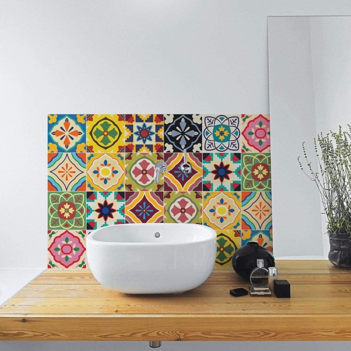 /Lot DE 24/ 4x4 inches 10x10 cm Sirface Talavera Tile Stickers/ /Ensemble de Stickers pour carrelage pour Cuisine et Salle de Bain/ /Diff/érentes Tailles Disponibles