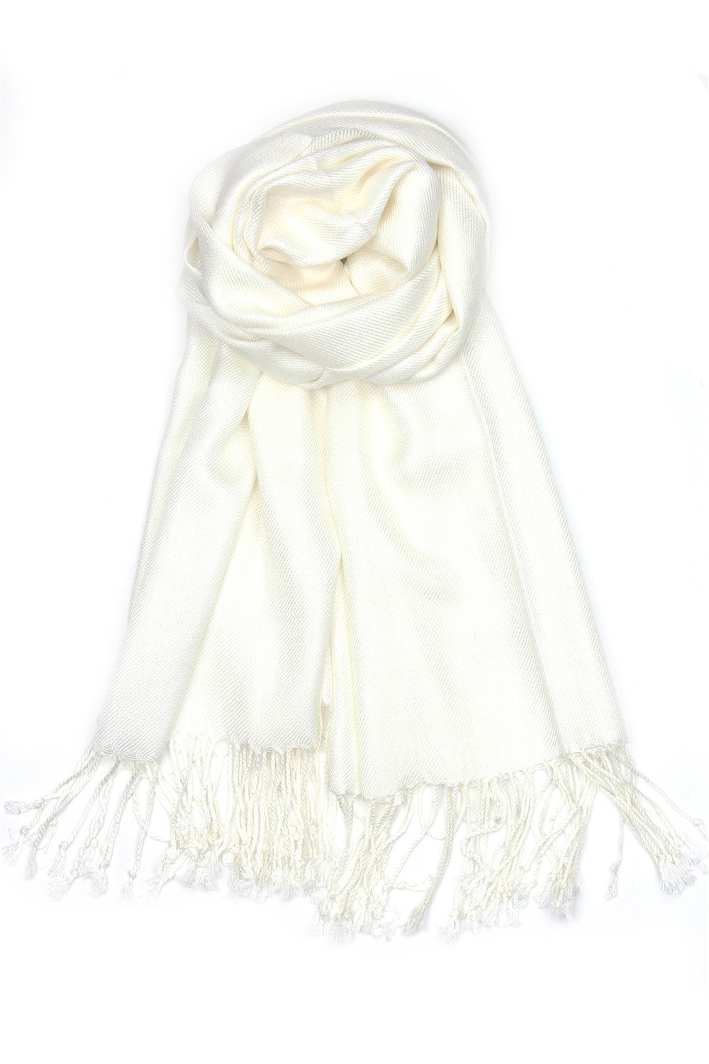 Achillea Large Soft Silky Pashmina Shawl Wrap Scarf in Solid Colors (Ivory) by Achillea