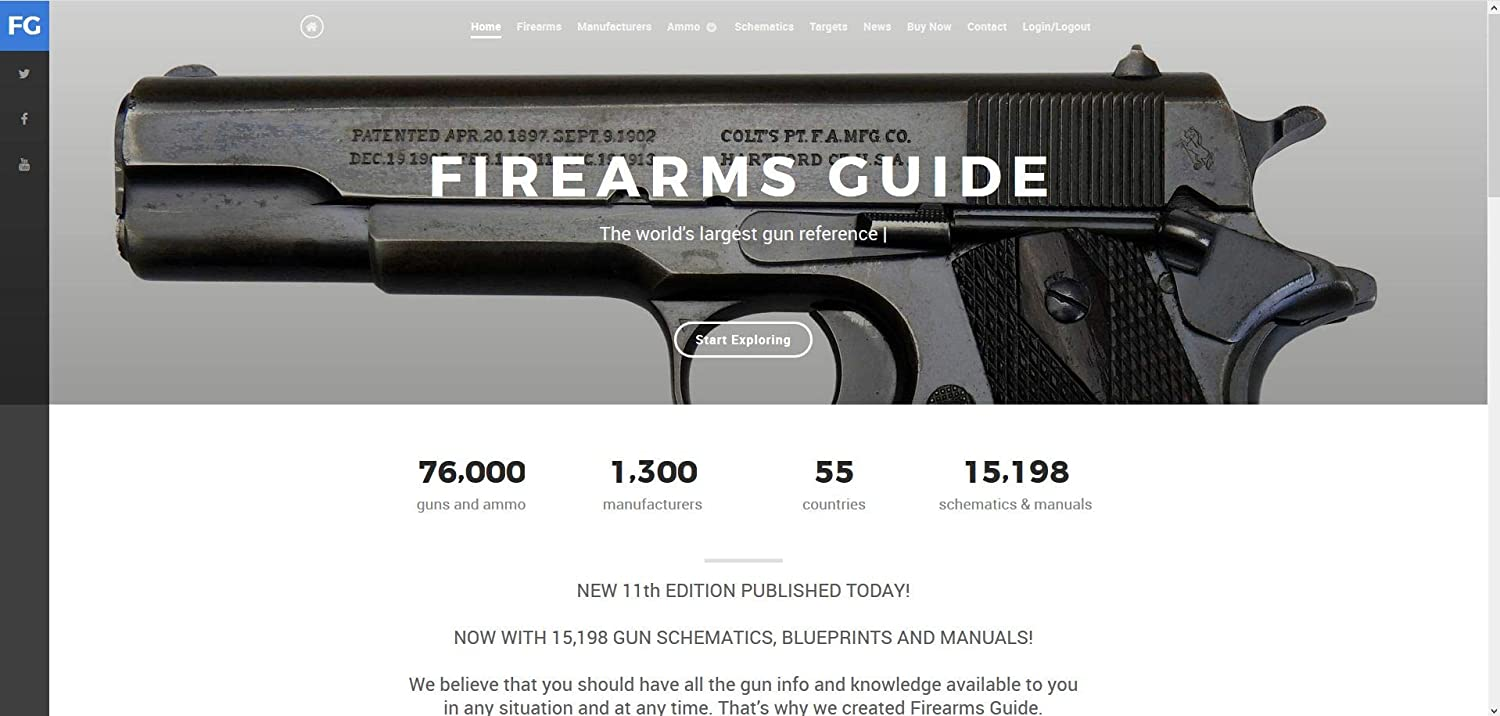 Firearms Guide 9th Edition ONLINE - Presents 73,300 guns and 8,000 gun schematics & blueprints - with Gun Values!